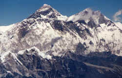 Mount Everest, the black pyramid that stands out between all the other white giants of the Nepal Himalaya